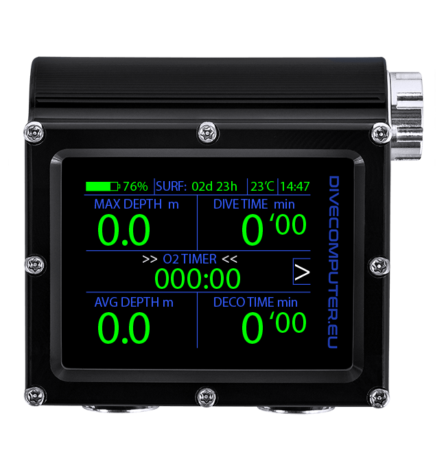 Dive computer - Main surface screen in Extended Gauge mode