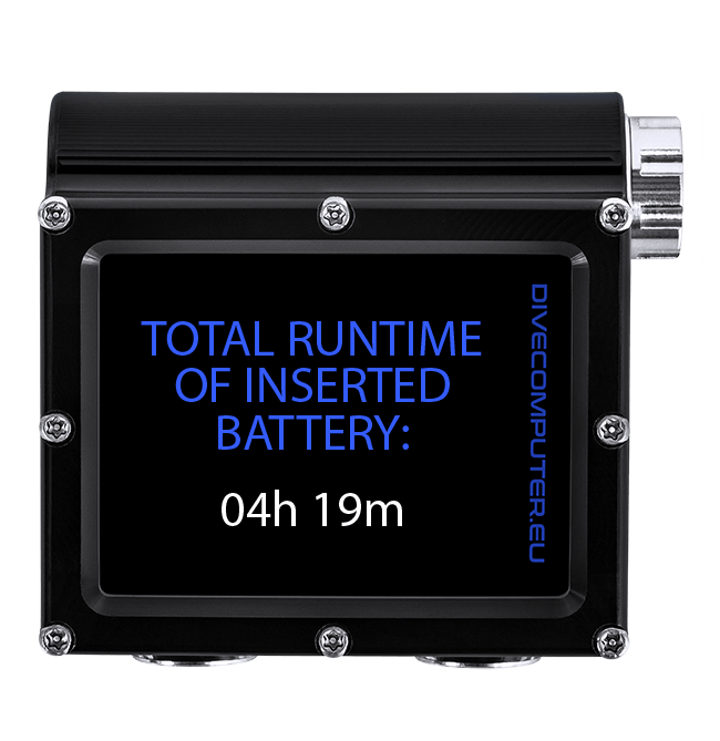 Dive computer - Total runtime of inserted battery